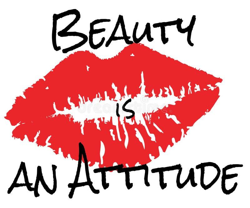 传染媒介秀丽是态度 红色唇膏亲吻 向量例证