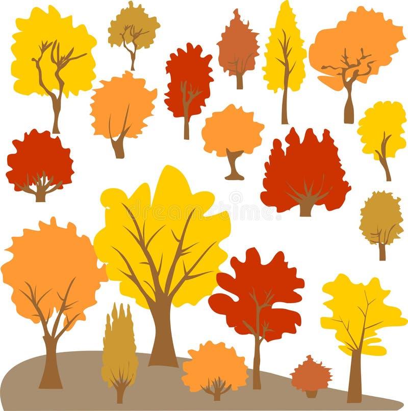 传染媒介秋天树剪贴美术. 收集, 例证.图片