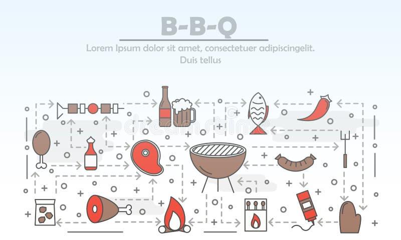 传染媒介稀薄的线艺术烤肉海报横幅模板 向量例证