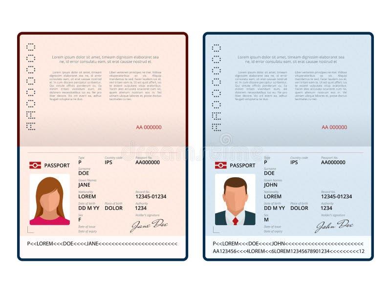 传染媒介空白开放护照模板 与样品个人数据页的国际护照 文件为 查出 向量例证