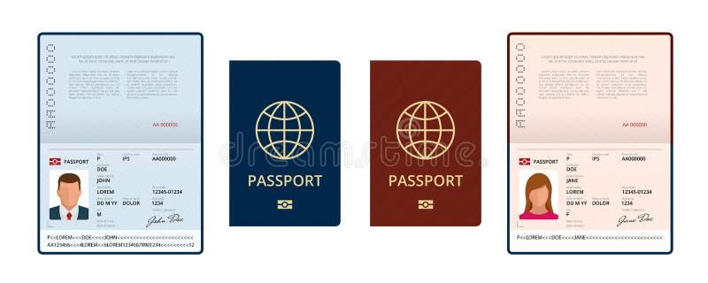 传染媒介空白开放护照模板 与样品个人数据页的国际护照 旅行的文件和 向量例证