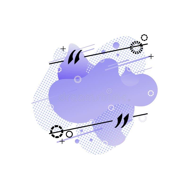 传染媒介空白框架模板,半音抽象液体形状,几何元素,被隔绝的现代设计元素,蓝色 向量例证