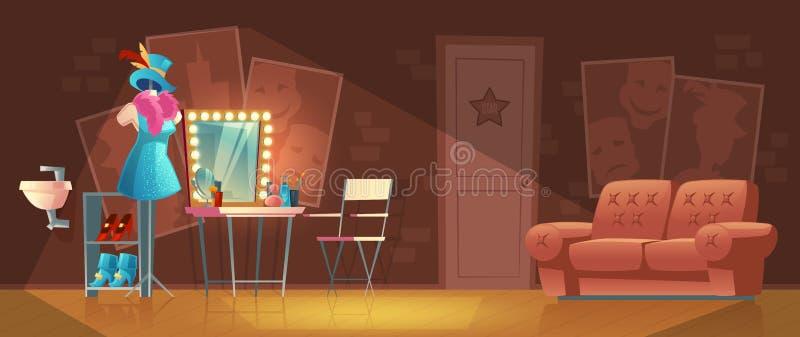 传染媒介空的化装室动画片内部  向量例证