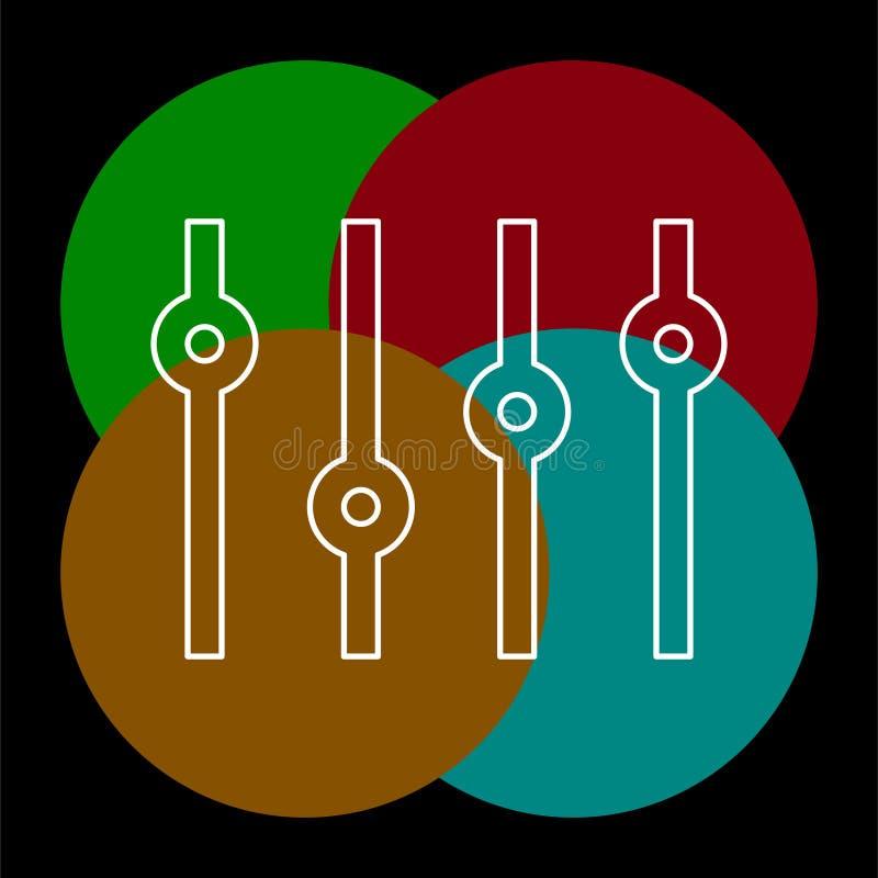 传染媒介立体声调平器标志-立体声音频 库存例证