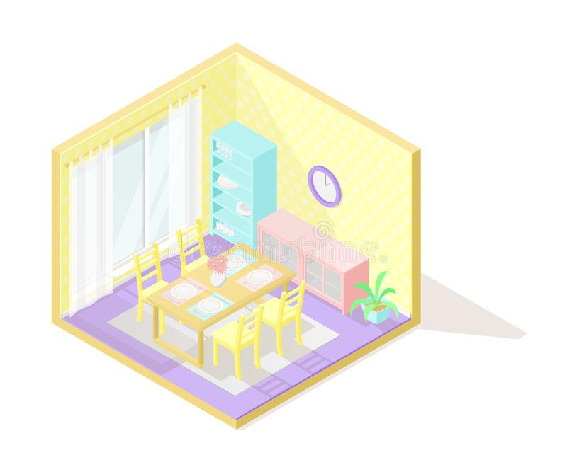 传染媒介等量低多切掉的内部illustartion 用餐玻璃空间圆桌的接近的刀叉餐具 向量例证