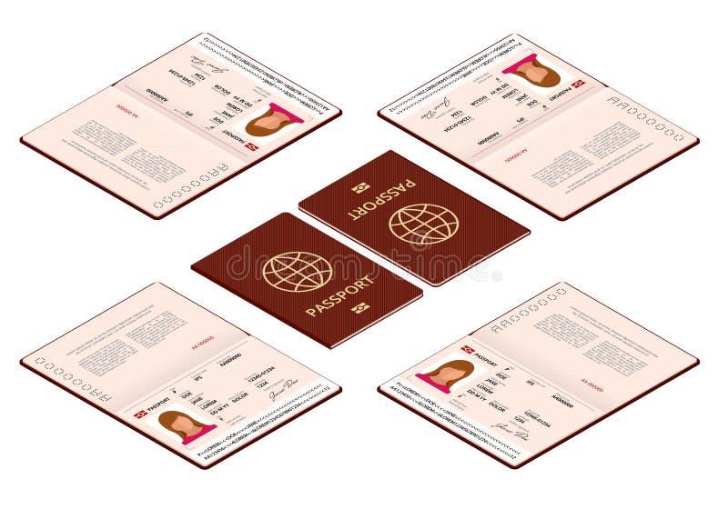 传染媒介等量空白开放护照模板 与样品个人数据页的国际护照 文件为 向量例证