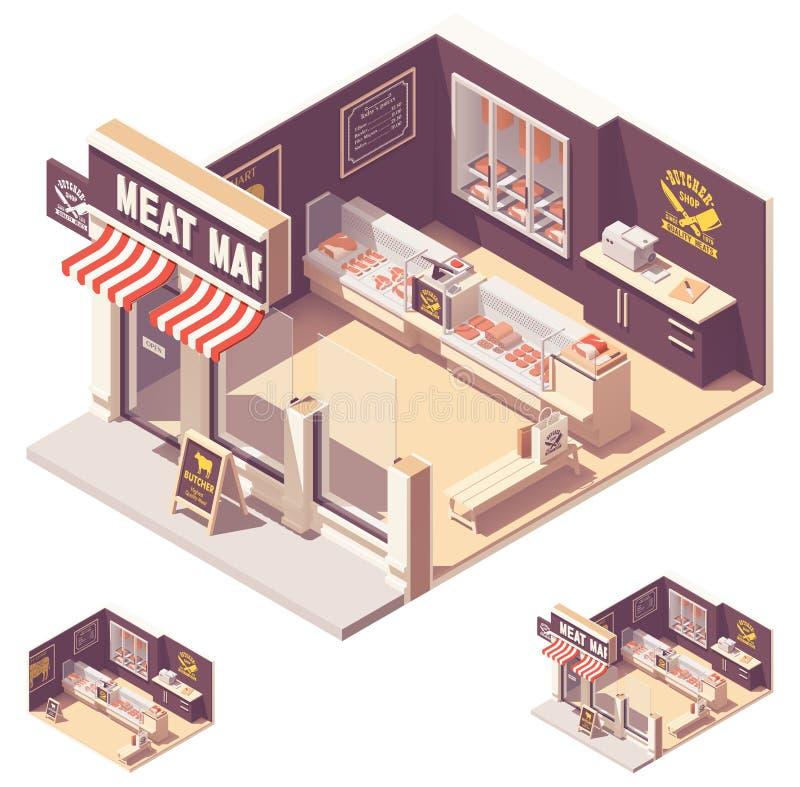 传染媒介等量肉店工作内部 向量例证