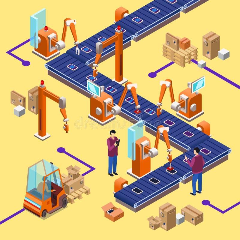 传染媒介等量自动机器人装配线 向量例证