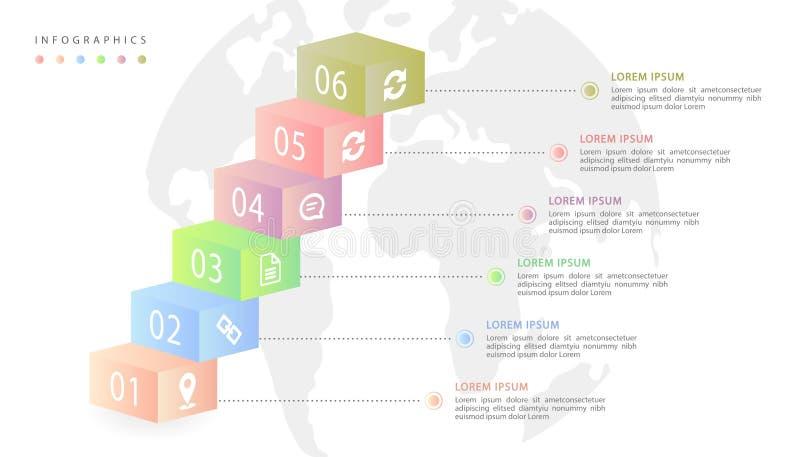 传染媒介等量infographic设计UI模板五颜六色的梯度标签和象有地球地图背景 库存例证