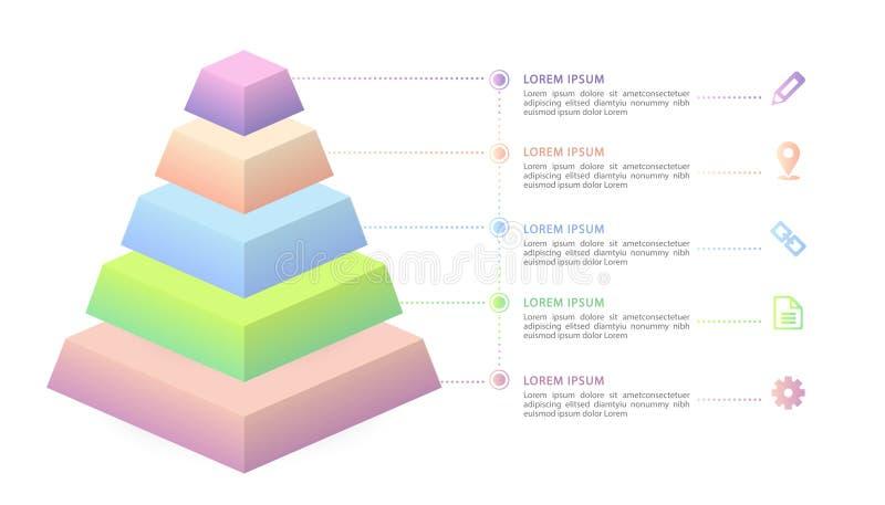传染媒介等量infographic设计UI模板五颜六色的梯度5步标签和象 皇族释放例证