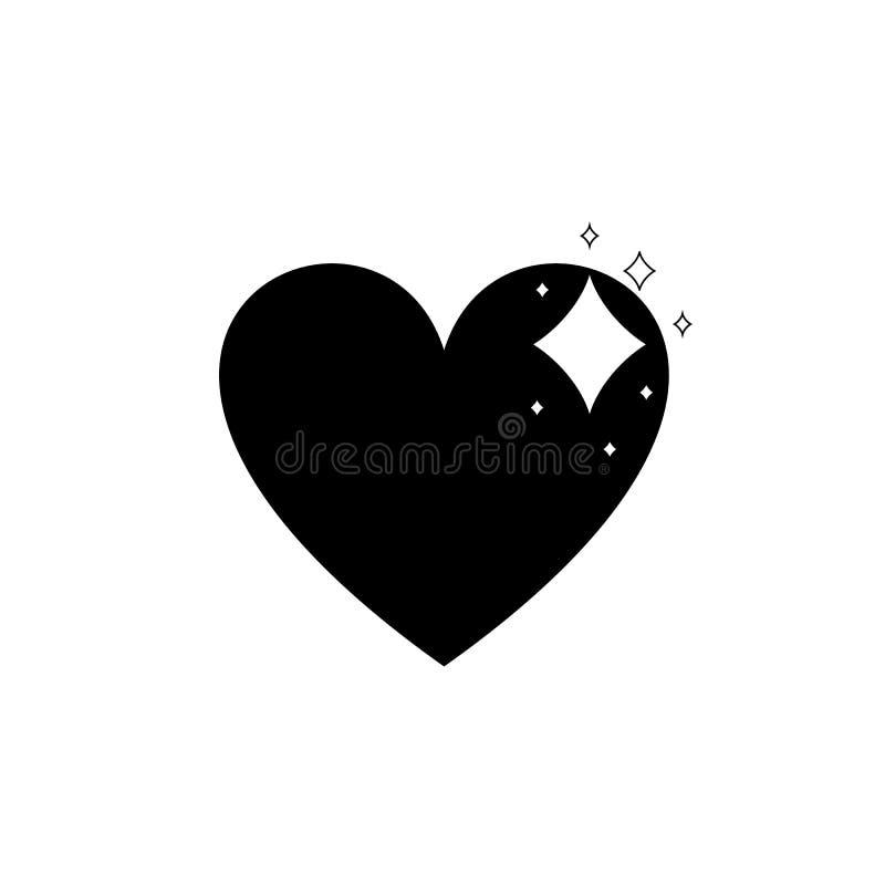 传染媒介简单的光亮的心脏象,黑平的设计隔绝在白色背景 皇族释放例证