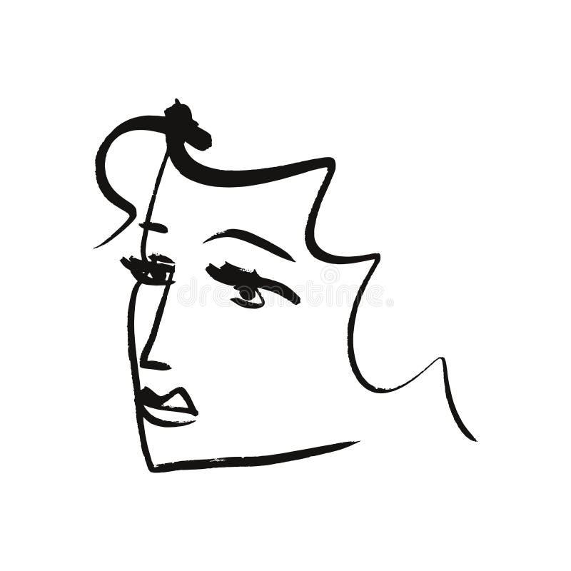 传染媒介简单的手拉的黑白时髦线画象艺术 衣裳,纺织品和其他的单色印刷品 EPS 向量例证