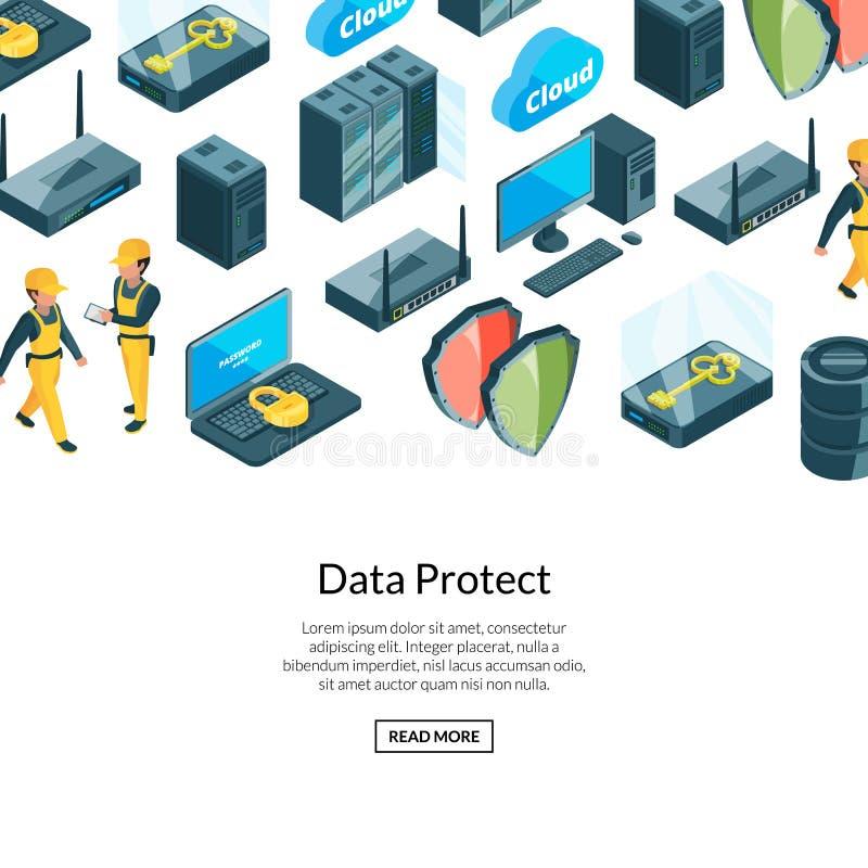 传染媒介系统数据中心 向量例证
