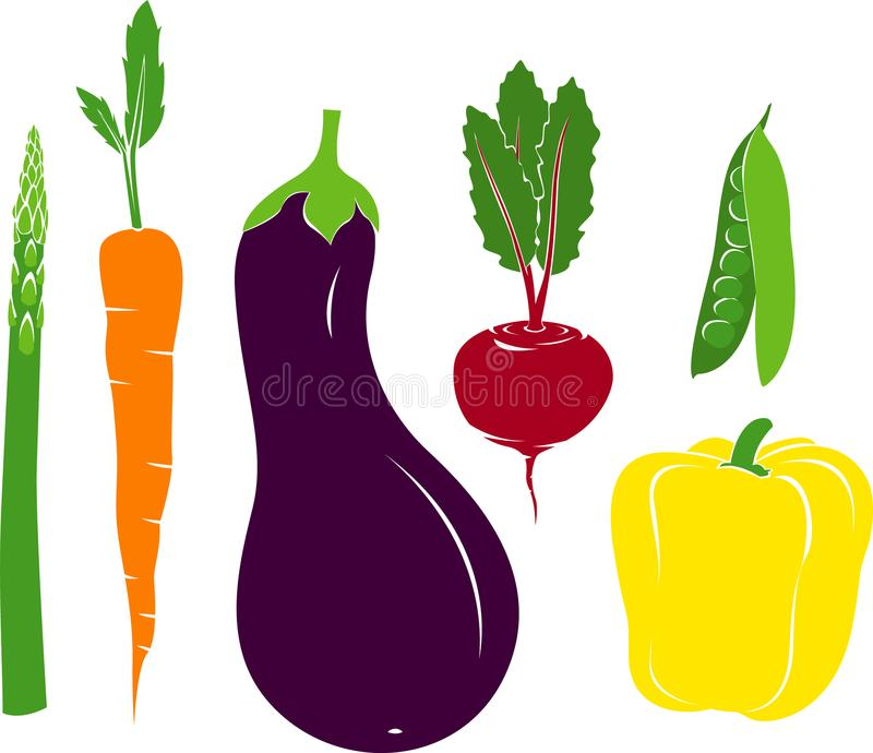 传染媒介素食者芦笋红萝卜茄子甜菜豌豆荚甜椒 免版税库存照片