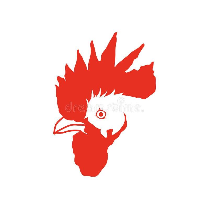传染媒介红色公鸡例证剪影  新年` s设计的红色雄鸡 皇族释放例证