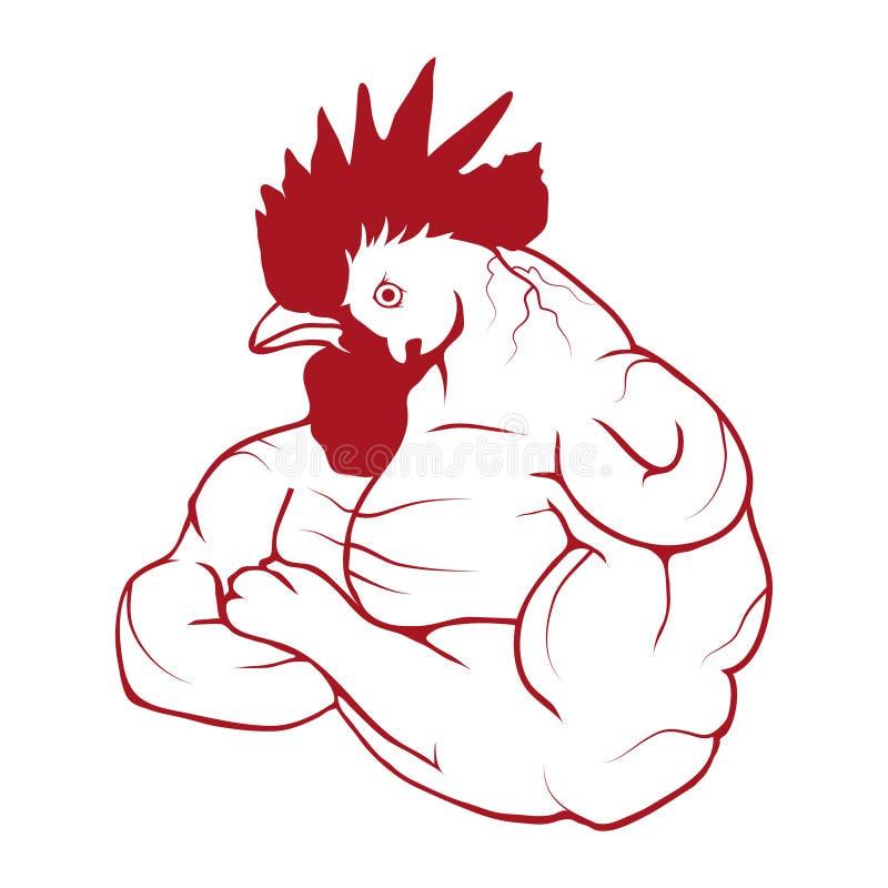 传染媒介红色公鸡例证剪影  新年` s设计的红色雄鸡 库存例证