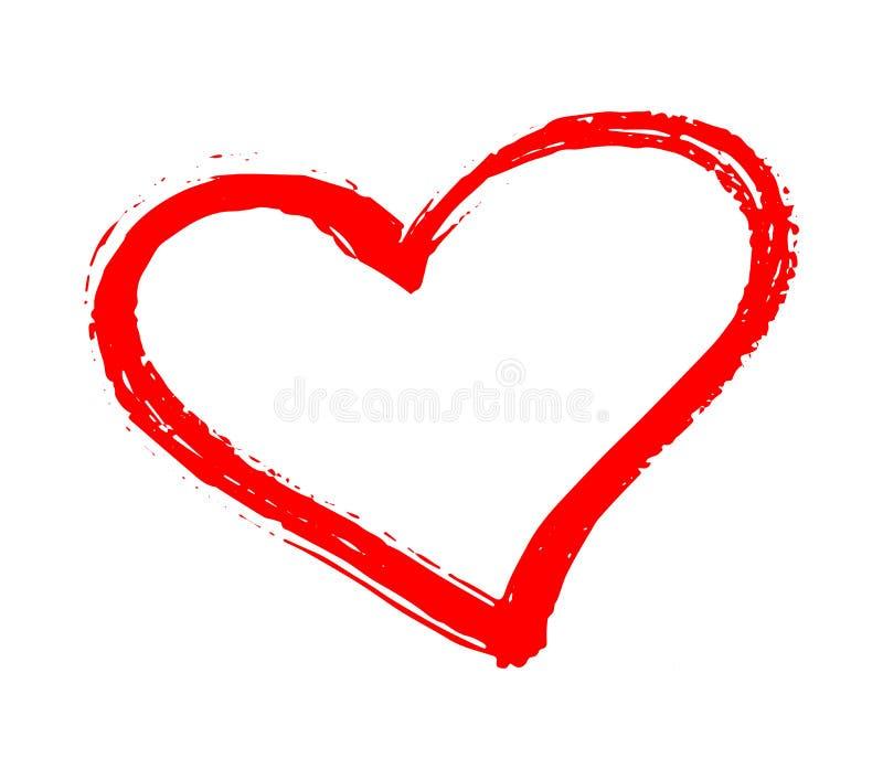 传染媒介红色心脏形状 手拉的心脏框架和邮票 在华伦泰`的白色背景隔绝的农庄红色刷子绘画 库存例证