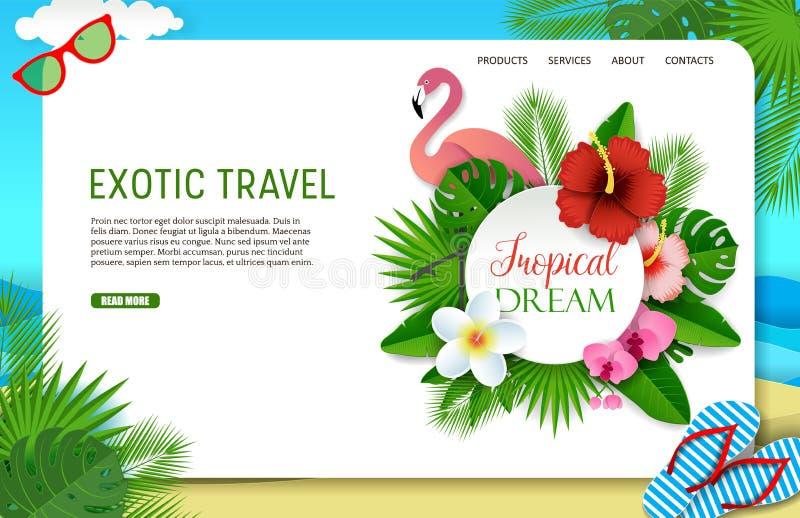 传染媒介纸削减了异乎寻常的旅行着陆页网站模板 向量例证
