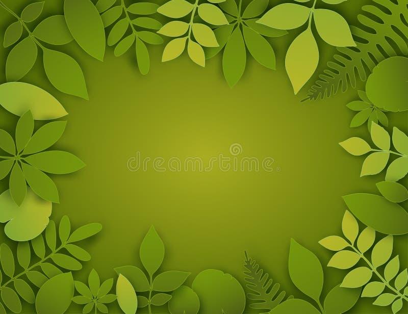 传染媒介纸裁减叶子 热带横幅的夏天 皇族释放例证