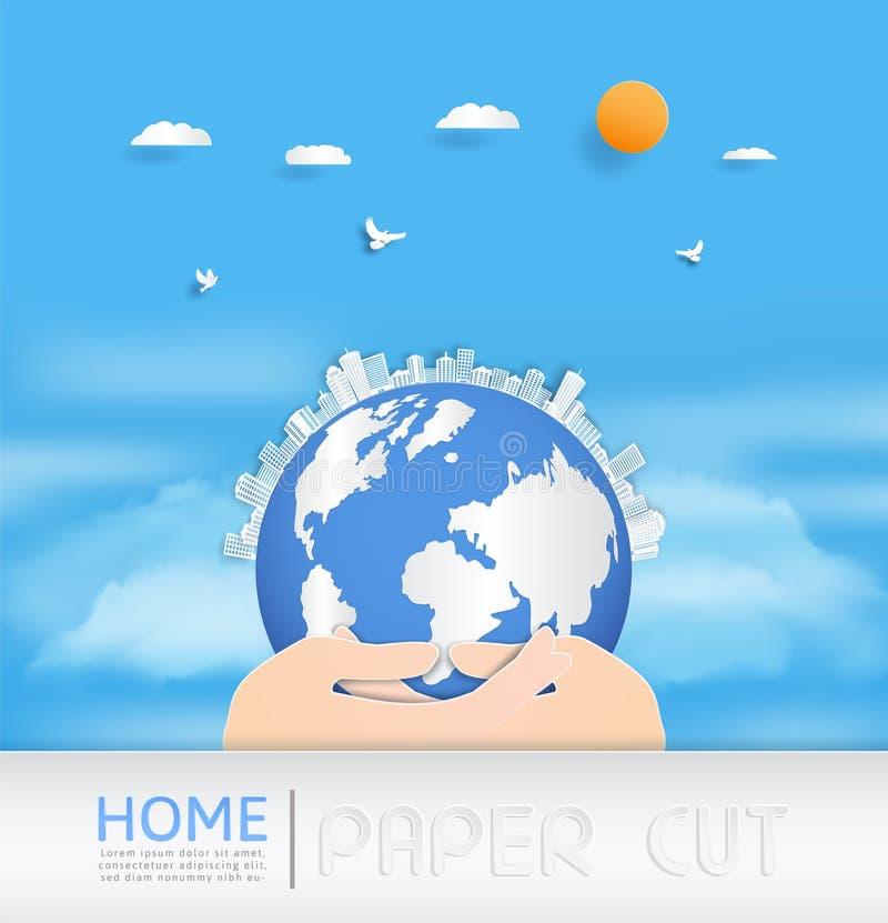 传染媒介纸裁减 并且与大厦的一种都市风景 并且房子或村庄 向量例证
