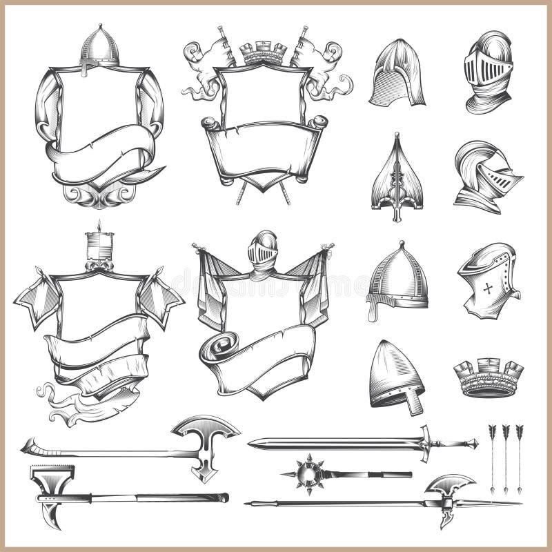传染媒介纹章学元素、盔甲和中世纪武器的汇集 向量例证