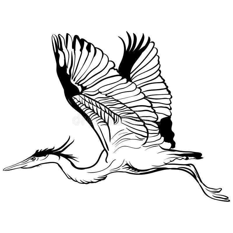 传染媒介纹身花刺剪影飞行鹳例证 向量例证