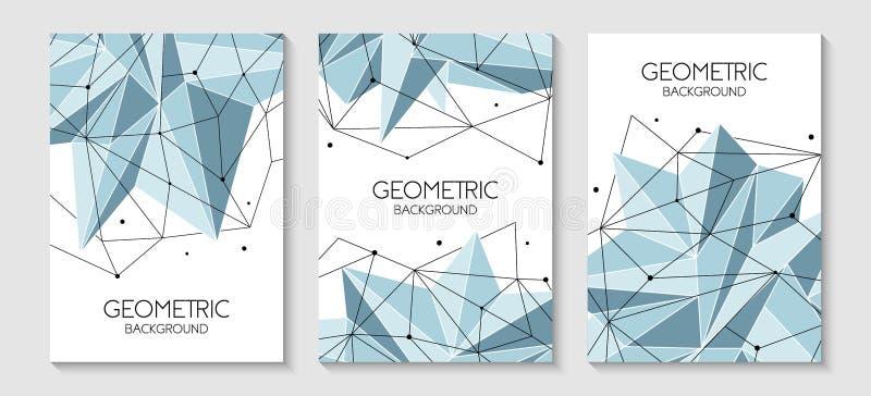 传染媒介线、小点和三角形状,连接的网络 小册子模板,盖子布局,杂志,飞行物设计 库存例证