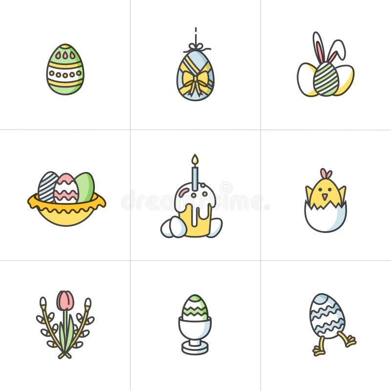 传染媒介线性五颜六色的设计复活节问候元素 套愉快的复活节卡片、横幅或者海报的象和 向量例证