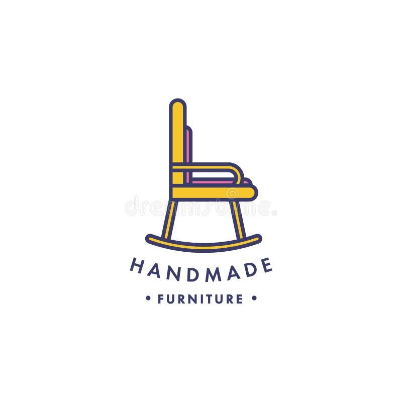 传染媒介线性木家具商标 手工制造摇椅 向量例证