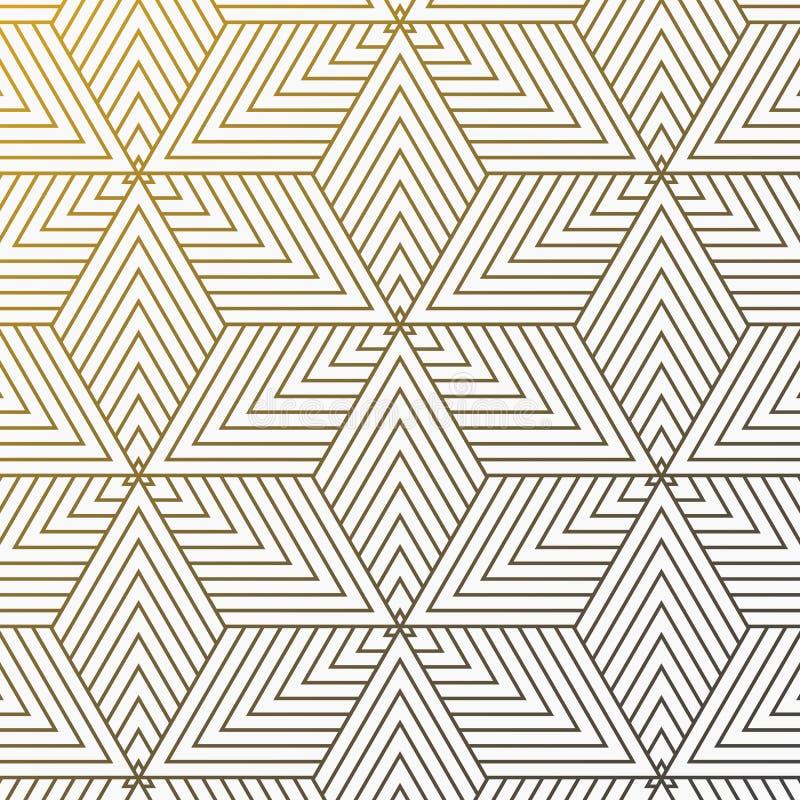 传染媒介线性样式 现代时髦的纹理 重复从镶边元素的几何瓦片在三角线重叠其中每一 库存例证