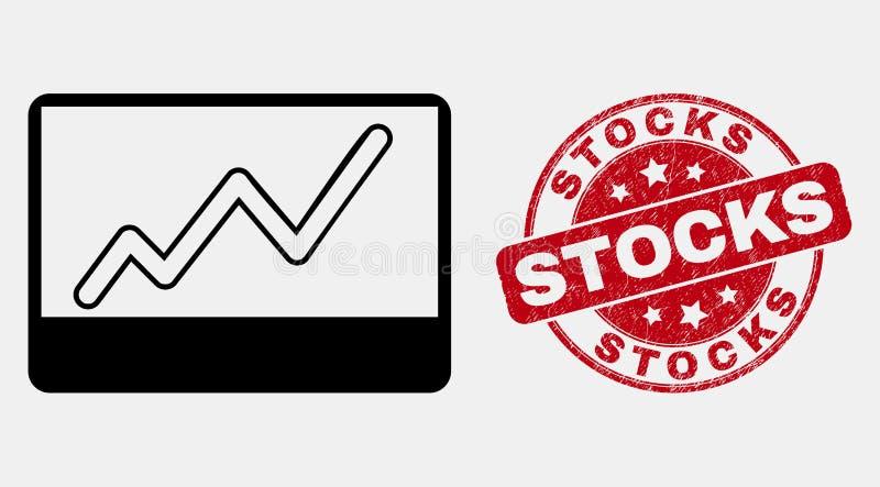 传染媒介线性股票绘制象和被抓的股票水印图表 库存例证