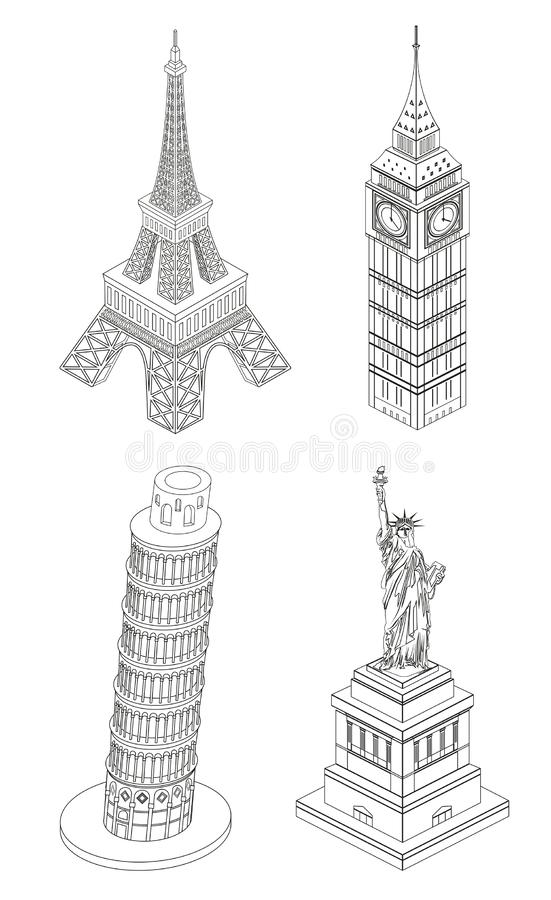 传染媒介线艺术举世闻名的地标样式例证:埃菲尔铁塔,大本钟,比萨塔,自由女神像 皇族释放例证