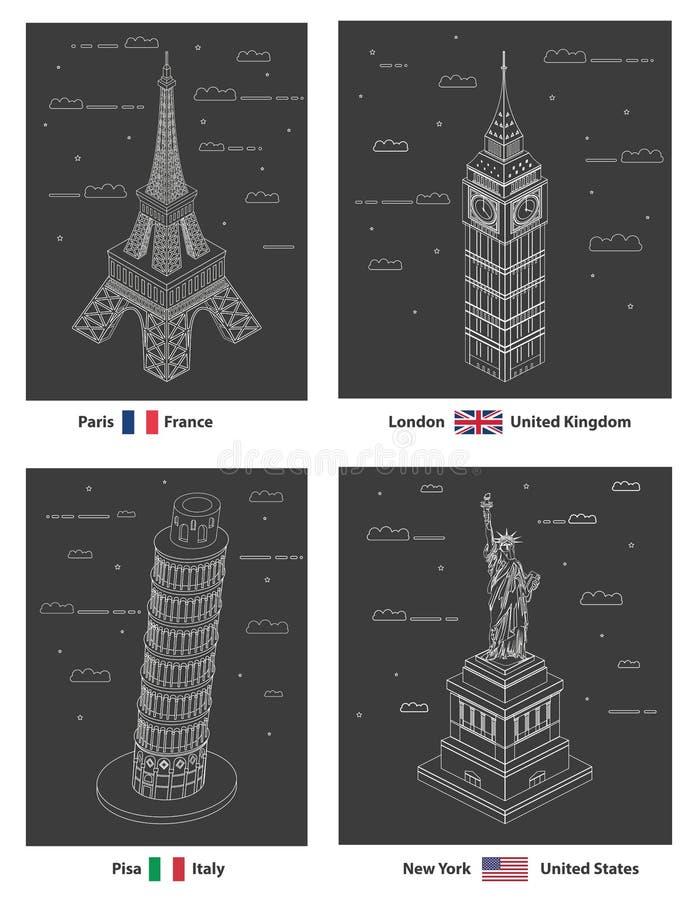 传染媒介线艺术举世闻名的地标样式例证:埃菲尔铁塔,大本钟,比萨塔,自由女神像 库存例证