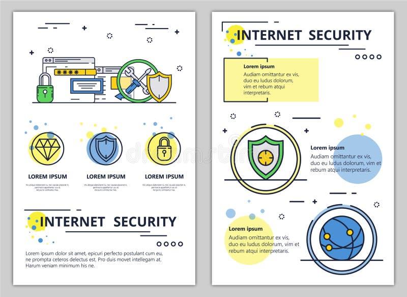 传染媒介线艺术互联网安全海报横幅 向量例证
