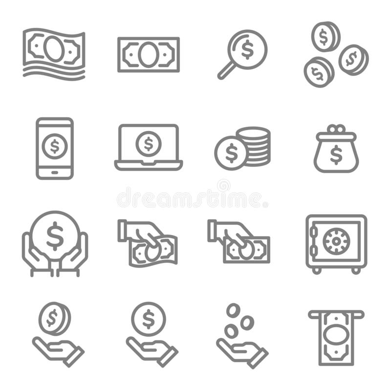 传染媒介线象集合 包含这样象象钱包、保险柜、互联网银行业务、现金、硬币,挽救和更多 皇族释放例证