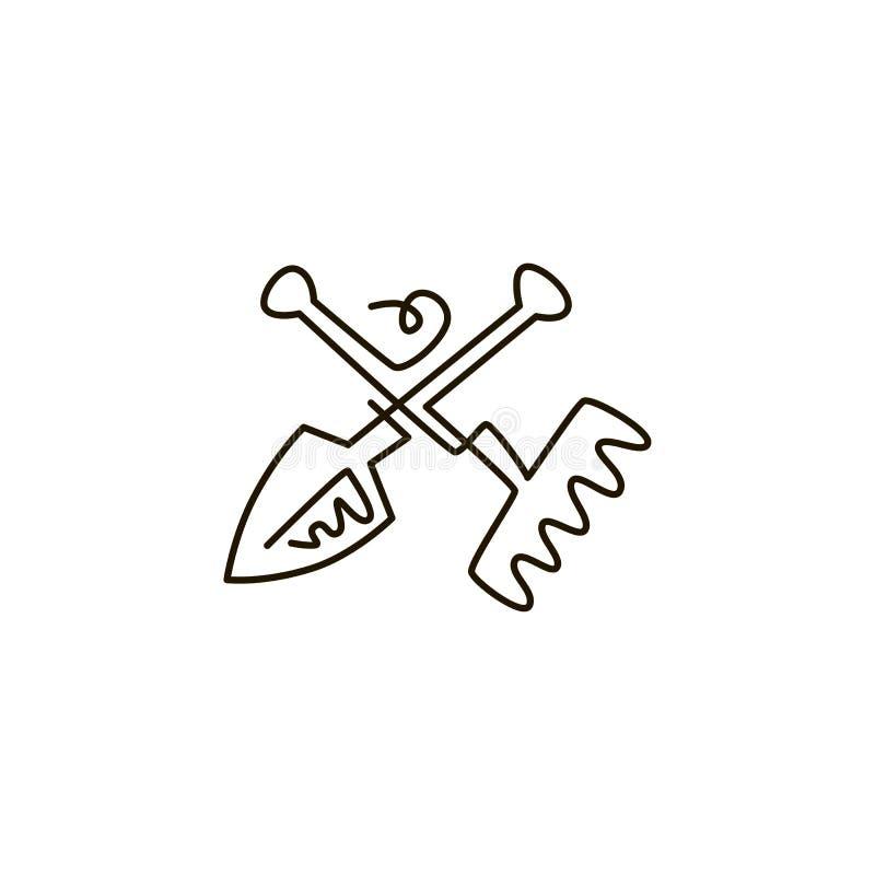 传染媒介线象 犁耙和铁锹园艺工具 一线描 背景查出的白色 库存例证