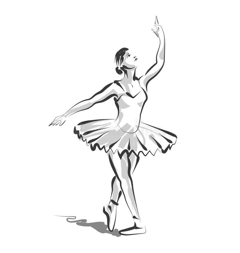 传染媒介线跳舞芭蕾舞女演员剪影  库存例证