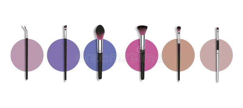 传染媒介组成染睫毛油和粉末的刷子 Besign时尚概念 在白色的现实化妆电刷组横幅 向量例证