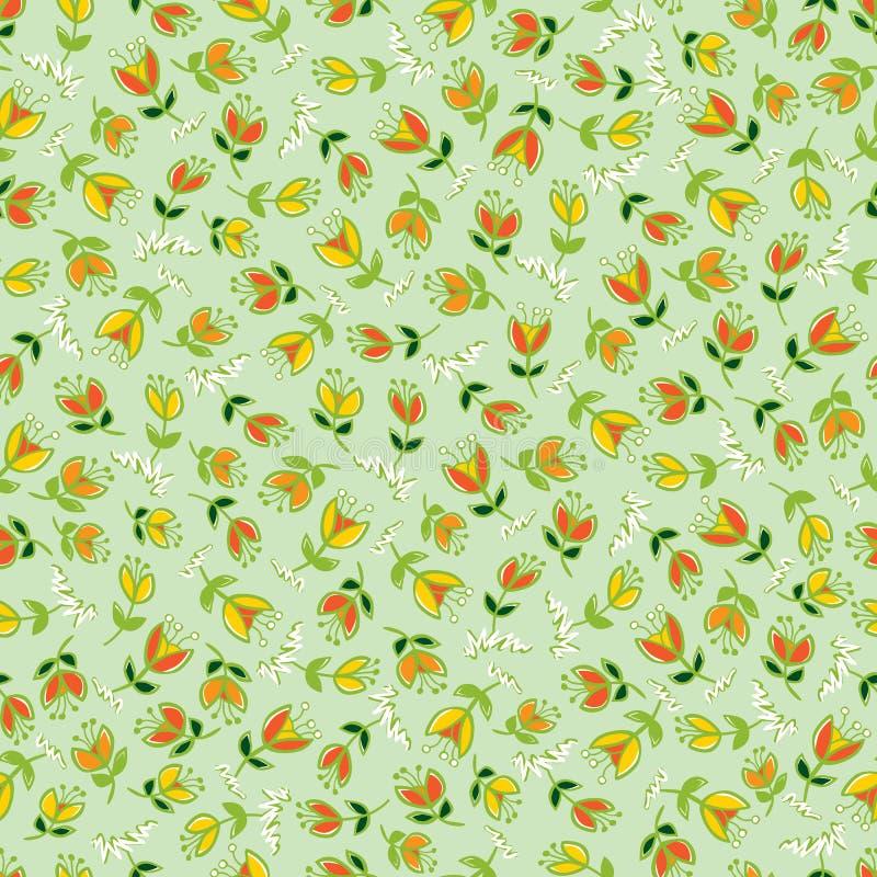 传染媒介绿色五颜六色的手拉的郁金香花重复样式 适用于缎带包装、纺织品和墙纸 库存例证