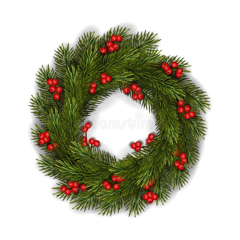传染媒介绿色圣诞节花圈用红色莓果 皇族释放例证