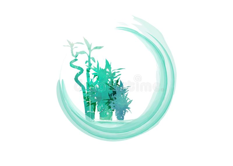 传染媒介绿色有机竹植物的被隔绝的水彩手拉的例证 与拷贝空间的绿色圆的标签背景 皇族释放例证