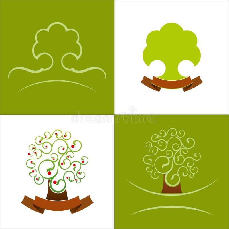 传染媒介绿色略写法 风格化树例证 库存例证