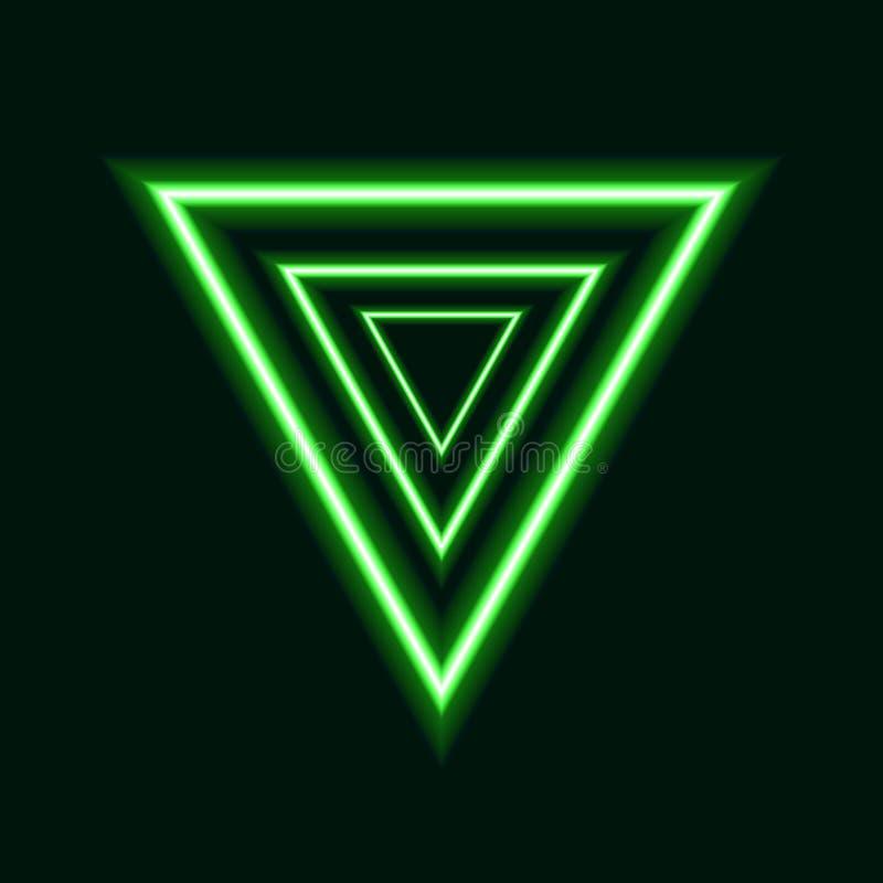 传染媒介绿色霓虹三角,未来派商标设计,发光的线 皇族释放例证