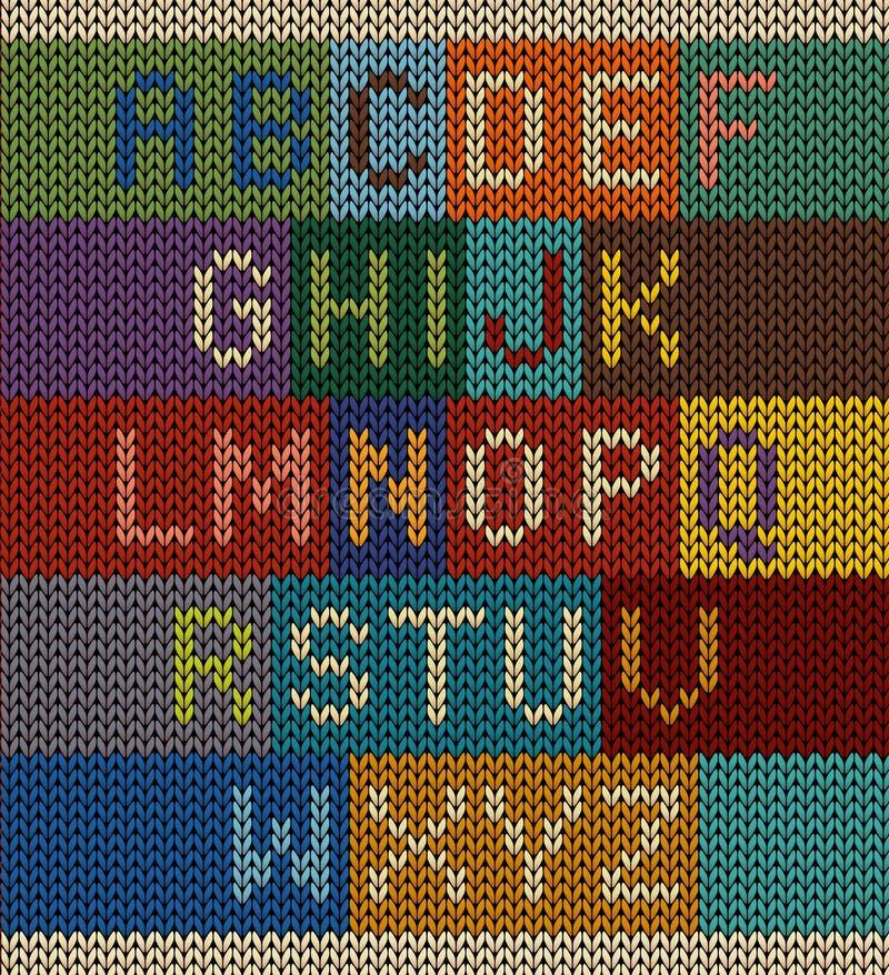 传染媒介编织了在与各种各样的配色的编织背景设置的信件 图库摄影