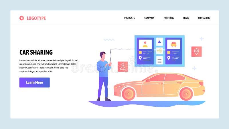 传染媒介网站梯度设计模板 汽车分享和出租汽车应用程序 网站和机动性的登陆的页概念 向量例证