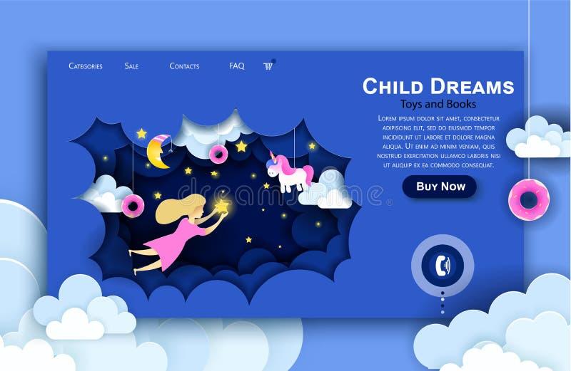 传染媒介网站纸艺术设计模板 接触在天空的孩子星 孩子梦想 着陆页例证 向量例证