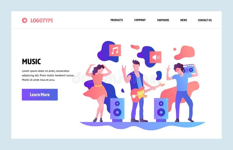 传染媒介网站线性艺术设计模板 演奏岩石和跳舞的音乐带 着陆网站的页概念和 库存例证