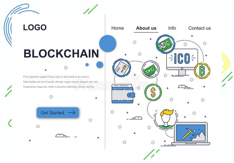 传染媒介网站线性艺术设计模板 Blockchain技术和bitcoin cryptocurrency ICO和隐藏采矿 库存例证
