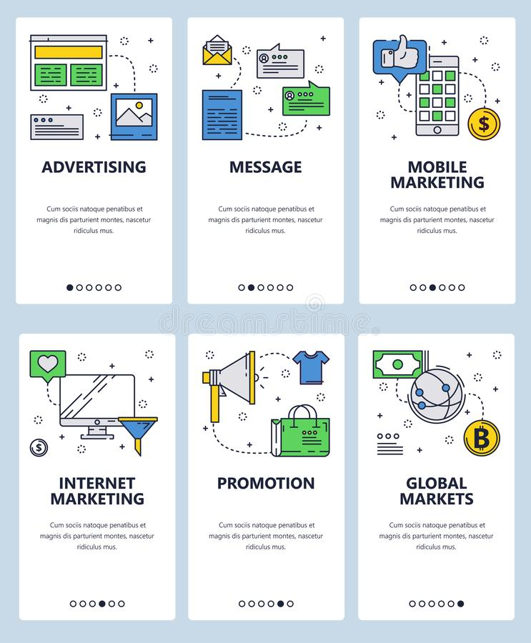 传染媒介网站线性艺术onboarding的屏幕模板 互联网营销和广告象 菜单横幅为 向量例证