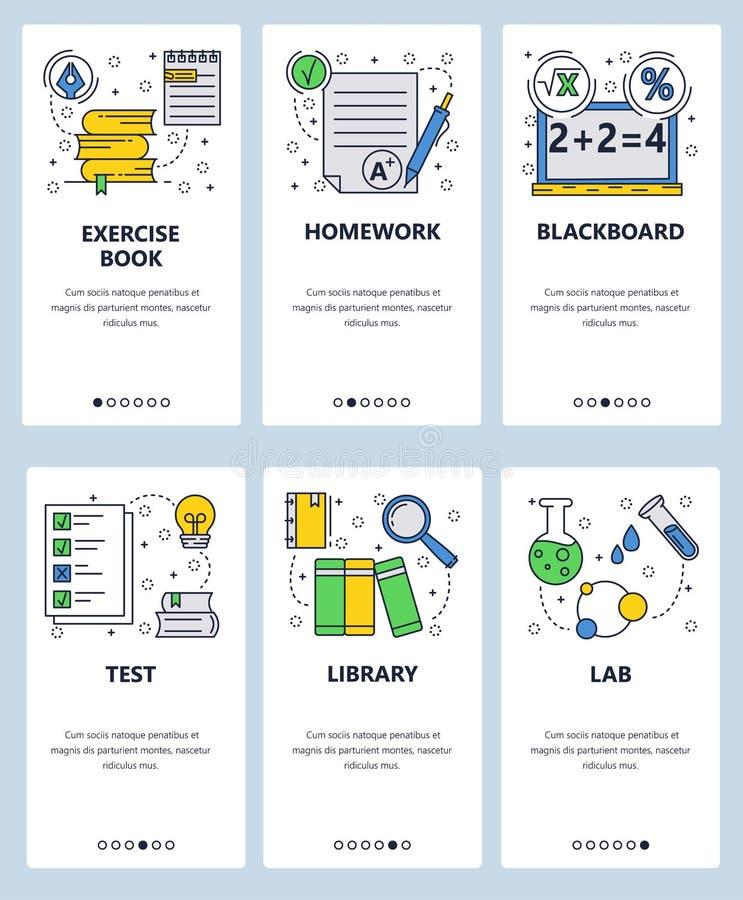 传染媒介网站线性艺术onboarding的屏幕模板 学校教育、图书馆、书和化学实验室 算术 库存例证